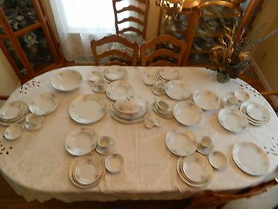 Thun Karlovarsky China Czech Service for 6 with 10 Serving Pieces Blue & Pink