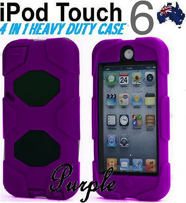 4 in 1 Heavy Duty Tough Impact Case Cover for Apple iPod Touch 6 6th Gen-Purple