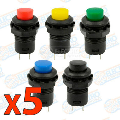 Lote 5 Interruptores ON OFF 12mm empotrables redondo latching push button switch