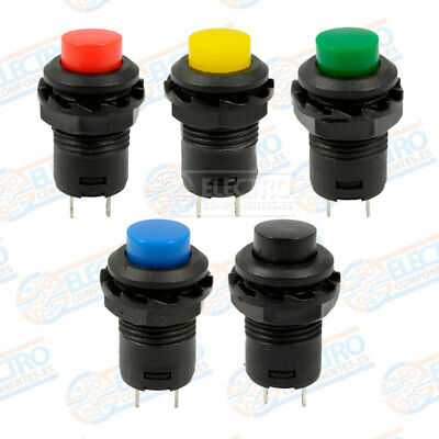 Lote 5 PULSADORES 12mm empotrables redondo momentary push button switch colores