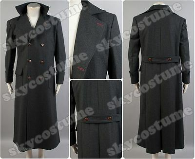 Sherlock Holmes Long Cape Wool Trench Coat Jacket Costume Outfit