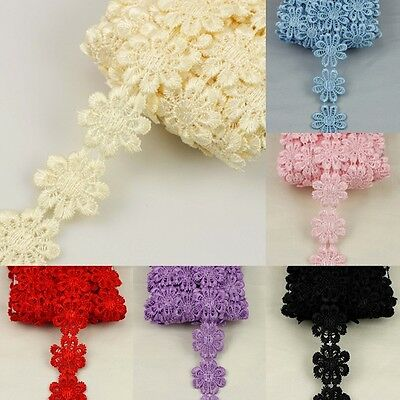 3Yards Embroidered Lace Trim Crochet Ribbon Daisy Floral Appliques Sewing Crafts