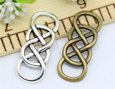 6/30/150pcs Tibetan Silbver Double 8 Eight Infinity Charms Connectors 32x12mm