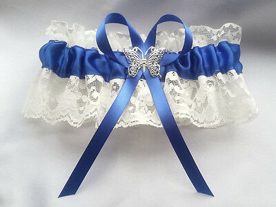 Handmade Royal Blue Satin Ivory Lace Butterfly Wedding Gift Bridal Brides Garter