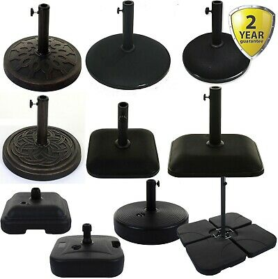 Parasol Base Outdoor Garden Holder Umbrella Stand Black Heavy Duty 12Kg Or 25Kg