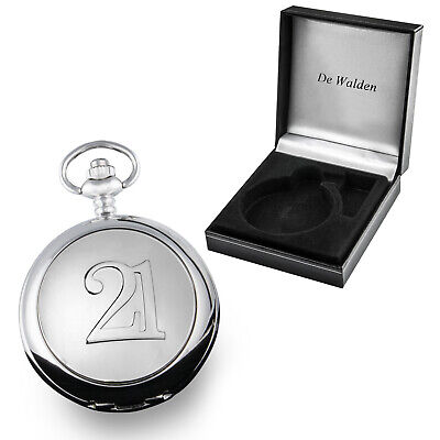 Engraved Gold Coloured 21 Pocket Watch 21st Birthday Gift Son Brother Dad Gifts