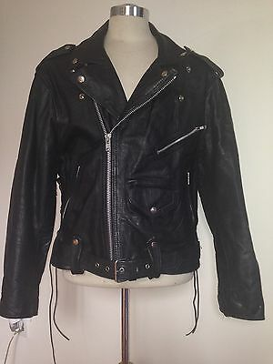 Classic Black Leather Motorcycle Jacket Men's Size 44