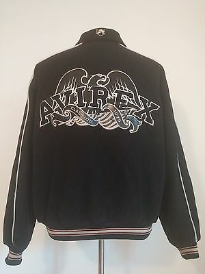 Vintage 1990's Avirex Black Wool Varsity Jacket Men's Xl Mild Staining