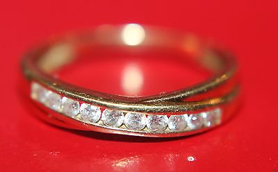 SECONDHAND DIAMOND 9ct GOLD BAND RING SIZE N1/2
