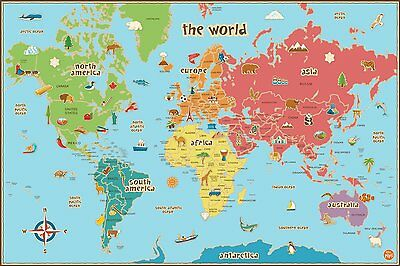 Kid World Map Interactive Dry Erase Removable Reusable 24x36-inch Decal  Markers