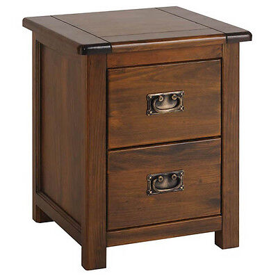 Premium York 2 Drawer Bedside Cabinet- Solid Pine- Dark Antique Brown- Vintage