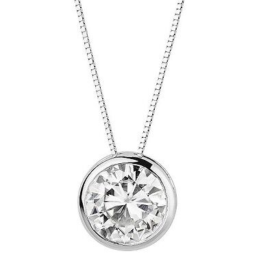 1.5 Ct Solitaire Simulated Diamond BEZEL Pendant Necklace Solid 14k White Gold