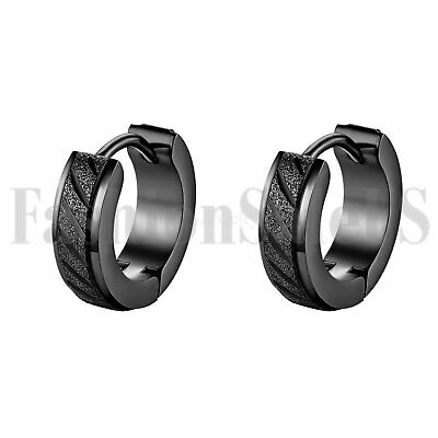 2pcs Men's Classic Cool Wide Black Stainless Steel Charm Huggie Hoop Earrings