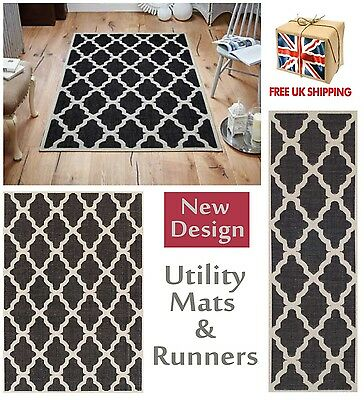 Trellis Flatweave Utility Mats Kitchen Rugs Hall Runners Black Anti Slip Gel