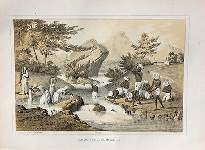 Mauritius Hindu Waschen Fluss Turban Wilhelm Heine Expedition US Navy Port Louis