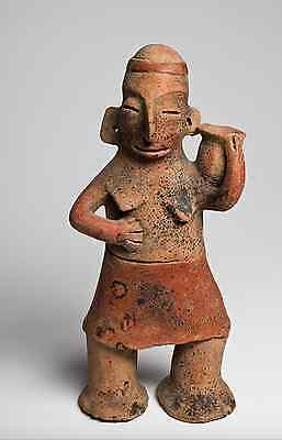 Pre-Columbian Antiquity from Mexico, Colima Lady with Bowl 100 B.C. - 250 A.D.