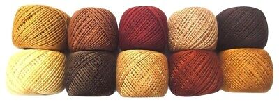 LOT OF 10 SHADES OF BROWN 6 Ply Strand Cotton Thread Yarn CrossStitch Embroidery