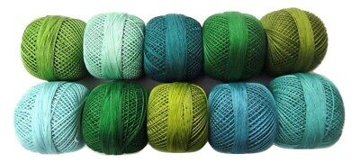 SET LOT of 10 SHADES OF GREEN Cotton Yarn Thread Crochet Knitting Embroidery