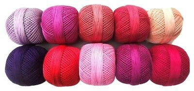 SET LOT of 10 SHADES OF PINK - Cotton Yarn Thread Crochet Knitting Embroidery