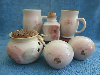 Robert Gordon ORCHID BLOSSOM 2 MUGS & SALT & PEPPER SHAKERS, GARLIC & SPICE CAN