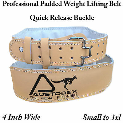 Austodex Weight lifting bodybuilding weightlifting back support Leather Belt 4""