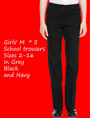 Girls School Trousers Ex M/S Ages 2-16 Black,Grey And Navy Zip Pockets