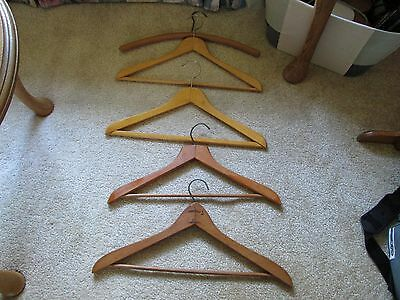 Lot of 5 Vintage Wooden Hangers Hotels Cleaners Laundry Coat Pants