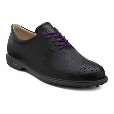 ECCO Womens Tour Hybrid Black Purple Hydromax Waterproof Leather Golf Shoes