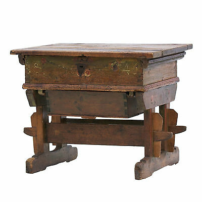 19th Century Painted Pine Desk. Believed to be Hungarian. Fantastic Antique Item