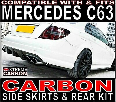 Mercedes C Class C63 W204 2008-2011 Carbon Side Skirts & Rear Extensions Kit