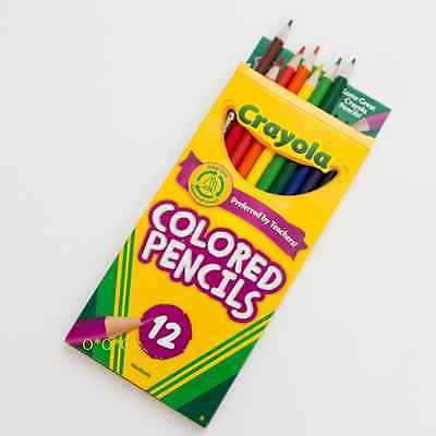 Crayola 12 PENCIL CRAYONS pack of full length Coloured Pencils New