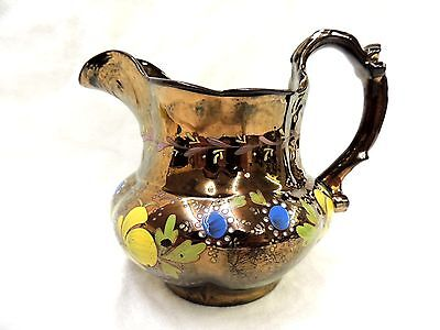 Beautiful Antique Copper Lusterware Pitcher 1800s