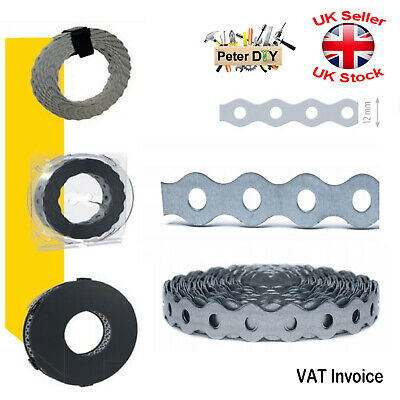 Galvanised Perforated Metal Fixings Securing Tape Band Assembly Belt 15mm 10,25m