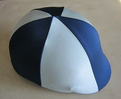 Horse Helmet Cover ALL AUSTRALIAN MADE Navy & Pale blue Any size you need