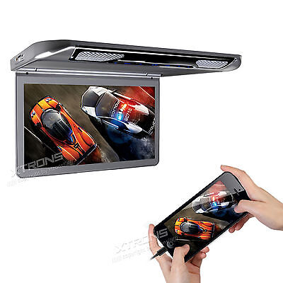 "HDMI Input 1080P Video 13.3"" USB SD Player Roof Mount In Car Flip Down Monitor"