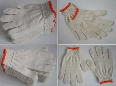 12 PAIRS PACK x WHITE RED WORK POLY/COTTON GENERAL PURPOSE ELASTIC YARN GLOVES