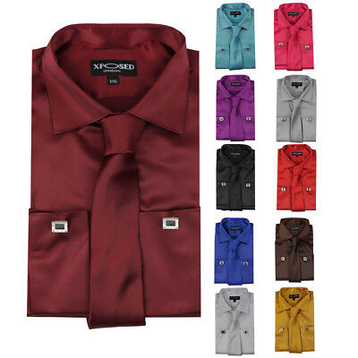 Mens Satin Silky Feel Smart Casual Double Cuff Wedding Party Formal Dress Shirt