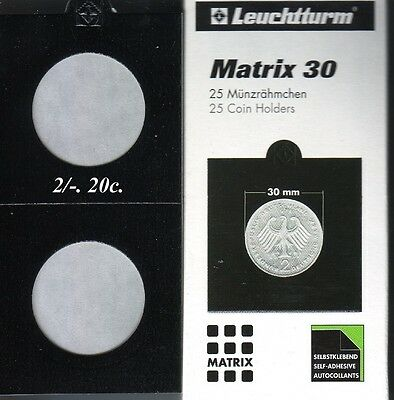 25 BLACK 30 mm  MATRIX LIGHTHOUSE  SELF ADHESIVE 2 x 2 COIN HOLDERS