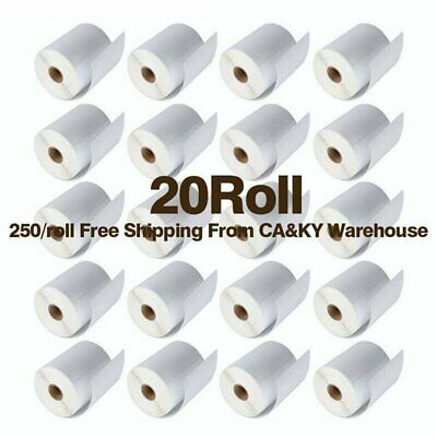 20 Rolls Direct Thermal Labels 4x6 250/Roll For Zebra Eltron 2844 ZP450 ZP505