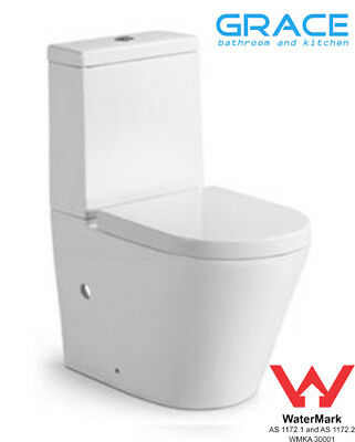 Toilet Suite New WELS 610mm Deep Back to Wall Ceramic,soft closing seat,S P trap