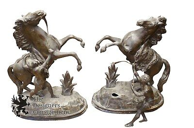2 Antique Spelter Bronze Equestrian Bookends Art Deco Horse Statue Figurines