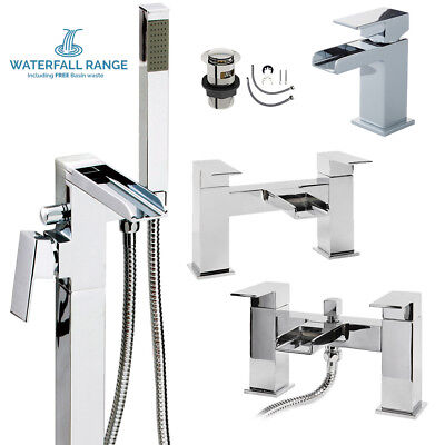 Chrome Tap Bath Bathroom Shower Square Brass Mono Waterfall Sink Mixer Solid