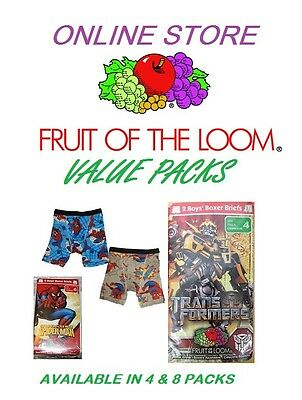 Fruit of the Loom 100% Cotton Cartoon Boxer Briefs /Value Packs
