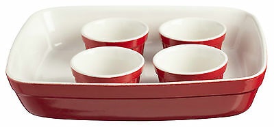 Mason Cash 5 Piece Baking Set Roaster Dish 4 Ramekins Red Oven Dishes Bakeware