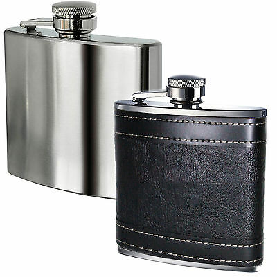 Excellent Hip Flask 6oz Stainless Steel & Leather effect 6oz Party Festival xmas