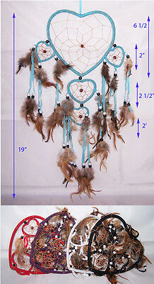 Handmade Dream Catchers Wall Hanging Decorations Hearts  6 Pc Lot ( NpDc53AT ^)