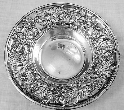 Blackberry fruit bowl repousse design by Wallace in sterling silver NO mono