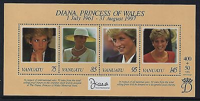 1998 Vanuatu Princess Diana Memorial Minisheet Fine Mint Mnh/muh