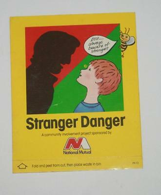 Retro Sticker -Stranger Danger... PSST beware of Strangers
