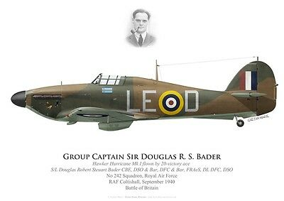 Print Hurricane I, S/L Douglas Bader, 242 Sqdn, Battle of Britain (by G. Marie)